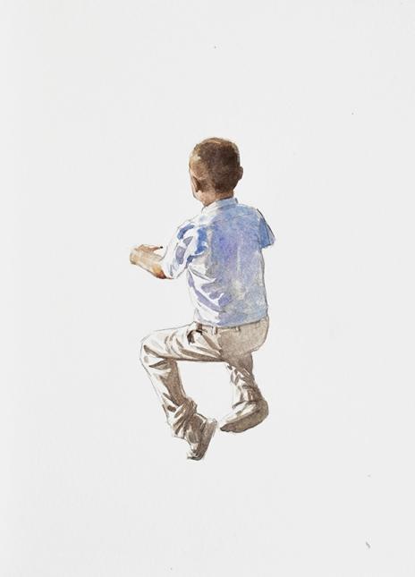 Diego Cirulli, Nene sin banco (de la serie Educación pública, 2012, trabajo en progreso) Acuarela sobre papel, 39 cm. x 29 cm.