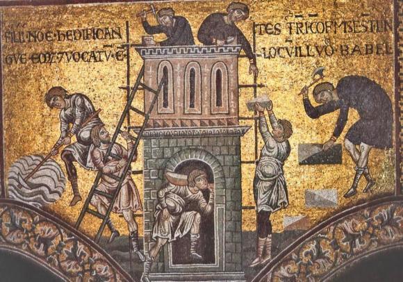 Autores desconocidos, Construcción de la Torre de Baabel (ca. siglo XIII). Mosaico, Duomo di Monreale, Sicilia.