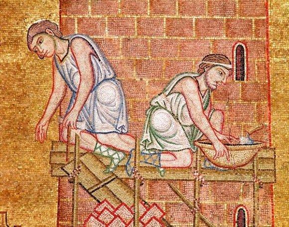 Construcción de la torre de Babel (detalle de dos constructores, ca. siglo XIII, Escuela Véneto-Bizantina). Mosaico, Basilica di San Marco, Venecia
