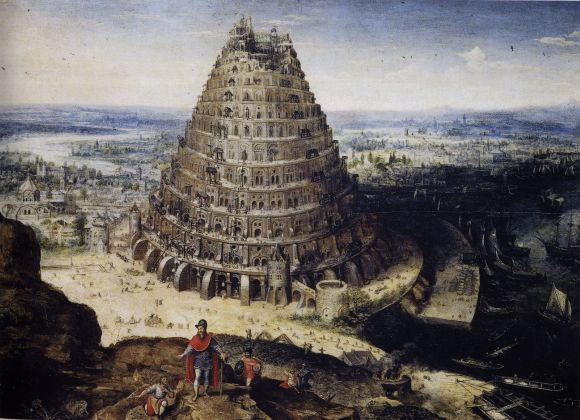 Lucas van Valckenborch, Construcción de la Torre de Babel (1594). Óleo sobre lienzo, 41 cm x 56 cm, Musée du Louvre, Paris.