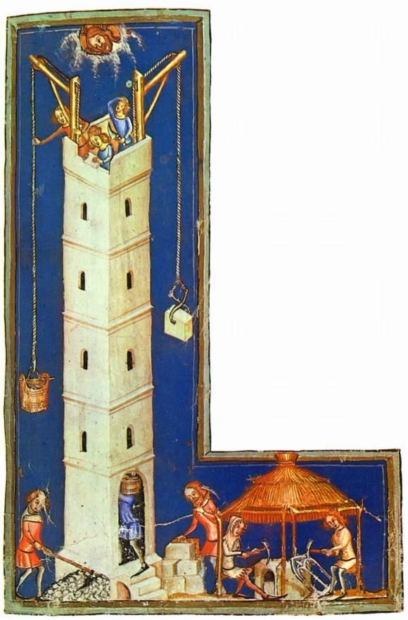 Maestro de Weltenchronik, La construcción de Babel (ca. 1370). Pergamino. Bayerische Staatsbibliothek, Munich.