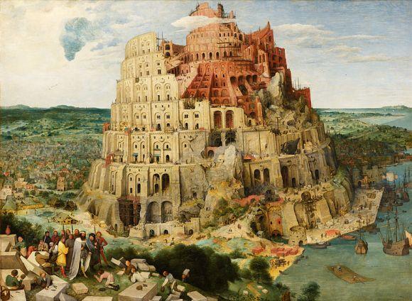 Pieter Brueghel el Viejo, La construcción de la torre de Babel (1563), 114 cm x 115 cm. Kunsthistorisches Museum, Viena.