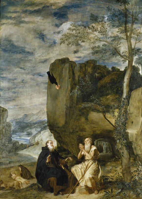 Diego Rodrigo de Silva y Velázquez, San Antonio Abad y San Pablo, primer ermitaño (ca. 1633). Óleo sobre lienzo,  261 cm. x 192,5 cm. Museo del Prado, Madrid.