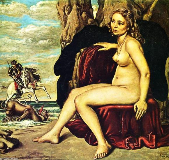 Giorgio De Chirico, San Jore matando al Dragón (1940). Óleo sobre tela. Colección privada.