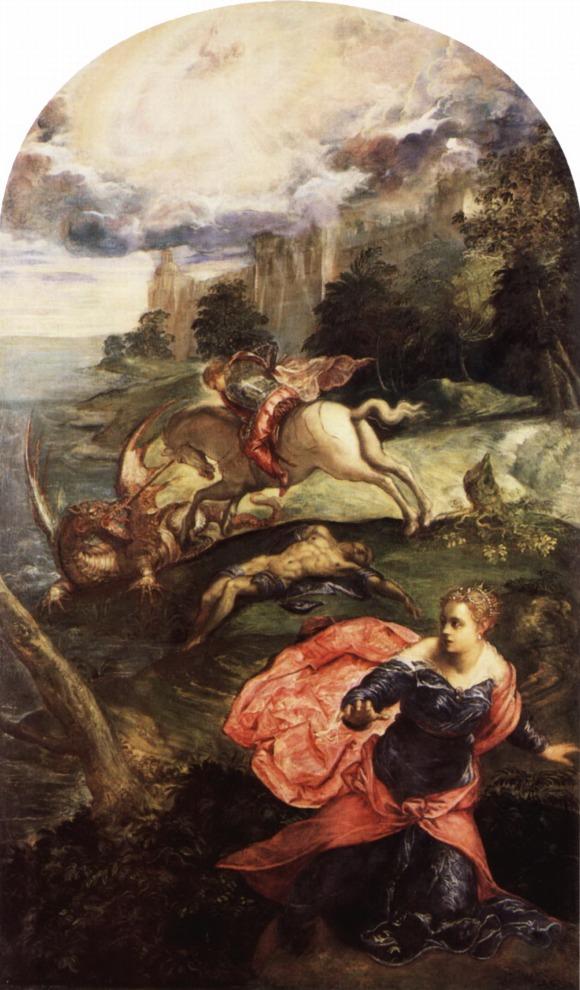 Jacopo Tintoretto, San Jorge y el Dragón (ca. 1560). Óleo sobre lienzo, 158 cm. x 100 cm. National Gallery, Londres.