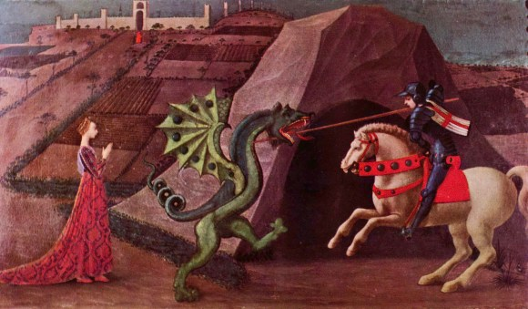 Paolo Uccello, San Jorge y el Dragón (ca. 1456-1460). Témpera sobre tabla, 52 cm. x 90 cm., Musée Jacquemart André, Paris.