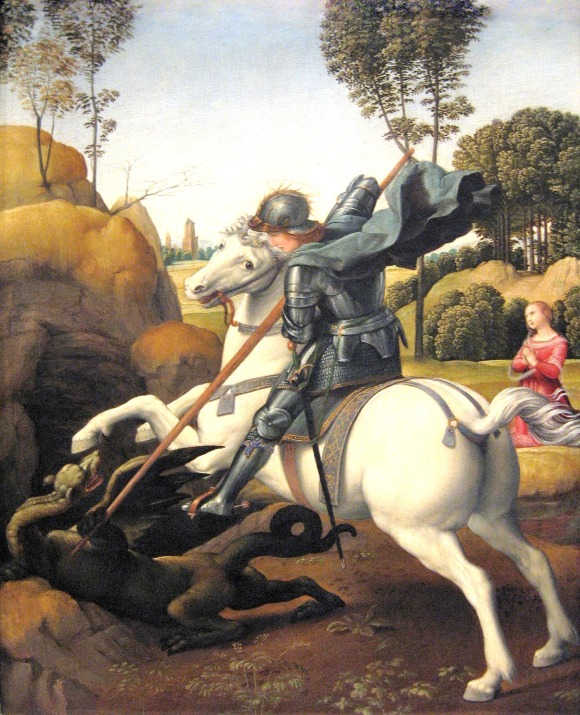 Raffaelo Sanzio, San Jorge y el Dragón (ca. 1506). Óleo sobre panel, 28 cm. x 22 cm., National Gallery of Art, Washington D.C.