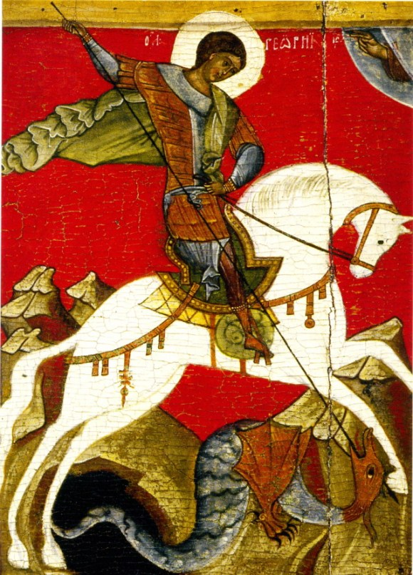 San Jorge matando al Dragón, Escuela de Nóvgorod (silglos XII-XVI). Témpera sobre tabla.