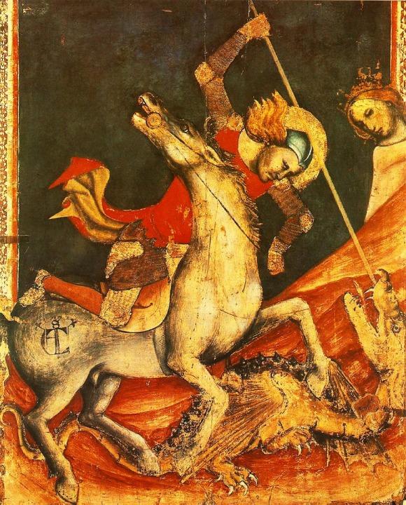 Vitale da Bologna, Lucha de San Jorge y el Dragón (ca. 1350). Témpera sobre tabla, 80 cm. x 70 cm, Pinacoteca Nazionale di Bologna, Bologna.