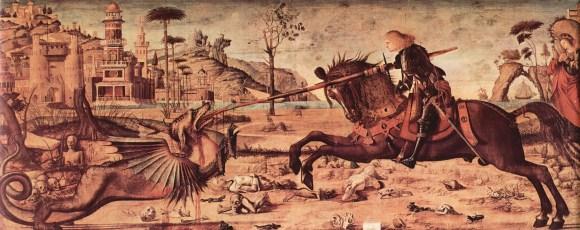 Vittore Carpaccio, San Jorge y el Dragón (1502-1507). Óleo sobre tela, 141 cm. x 360 cm., Scuola di San Giorgio degli Schiavoni, Venecia.