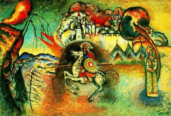 Wassily Kandinsky, San Jorge y el Dragón (1927). Óleo sobre cartón, 61,4 cm. x 91 cm., Galería Tetriakov, Moscú.