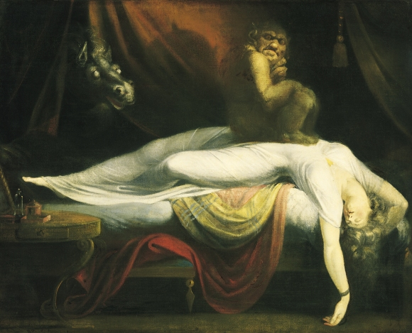 Henry Fuseli (Johann Heinrich Füssli). La Pesadilla (1781). Óleo sobre lienzo, 101,6 cm. × 127 cm. Institute of Fine Arts, Detroit.