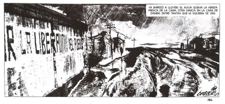 """Alberto Breccia y Carlos Trillo, """"Cara marcada"""", en Un tal Daneri, Doedytores, 2003. Publicado originalmente en Mengano Nro. 5, 1974."""