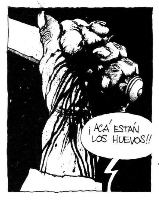 El Matadero de Esteban Echeverría, versión de Enrique Breccia. Fierro Nro. 1, Ediciones de la Urraca, Buenos Aires, septiembre de 1984. Cuadro 6, pág. 3.