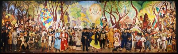 Diego Rivera, Sueño de una tarde dominical en la Alameda Central (1947). Fresco, 15,60 ,ts. x 4,70, Museo Mural Diego Rivera, México, D. F.