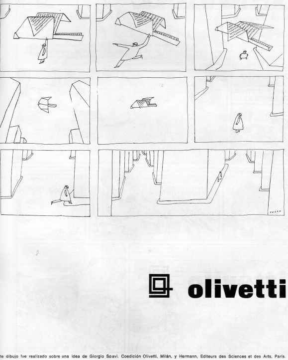 """Folon, """"El Mensaje"""". LD. Literatura Dibujada Nro. 1 (noviembre de 1968). Summa-Nueva Visión, pp. 45-47."""